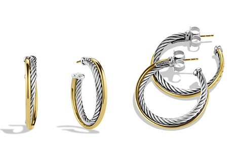 David Yurman Crossover Medium Hoop Earrings with Gold - Bloomingdale's_2