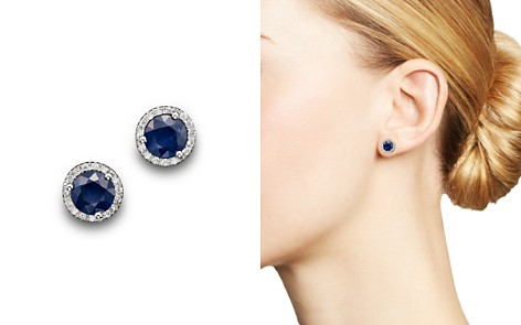 Blue Sapphire and Diamond Halo Stud Earrings in 14K White Gold - 100% Exclusive - Bloomingdale's_2