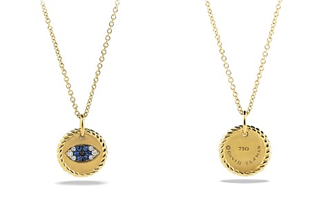 David Yurman Cable Collectibles Evil Eye Charm Necklace with Blue Sapphire, Black Diamonds & White Diamonds in Gold - Bloomingdale's_2