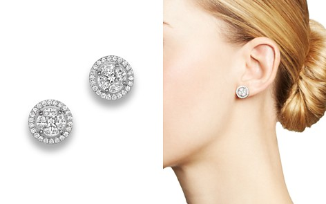Diamond Cluster Halo Stud Earrings in 14K White Gold, .95 ct. t.w. - 100% Exclusive - Bloomingdale's_2