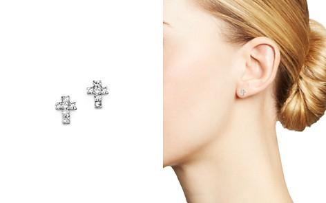 KC Designs Diamond Small Cross Stud Earrings in 14K White Gold - Bloomingdale's_2