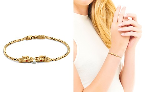 John Hardy Naga 18K Yellow Gold Box Chain Bracelet with Diamonds and African Ruby Eyes - Bloomingdale's_2