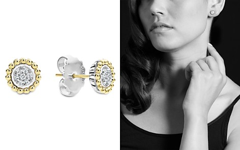 Lagos 18k Gold And Diamond Caviar Stud Earrings Bloomingdale S 2