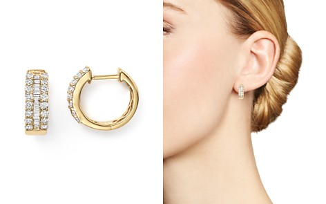 Diamond and Baguette Hoop Earrings in 14K Yellow Gold, .85 ct. t.w. - Bloomingdale's_2