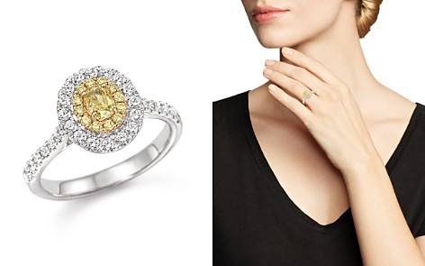Yellow and White Diamond Oval Ring in 18K White and Yellow Gold - Bloomingdale's_2