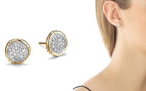 John Hardy Bamboo 18K Yellow Gold Diamond Pavé Small Round Stud Earrings - Bloomingdale's_2