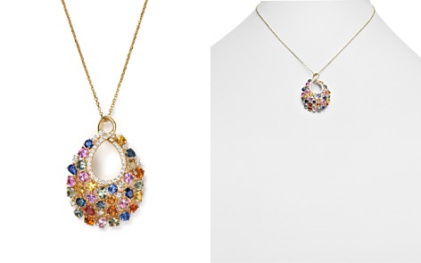 """Diamond and Multi Sapphire Pendant Necklace in 14K Yellow Gold, 16"""" - 100% Exclusive - Bloomingdale's_2"""