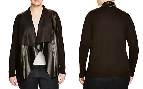 MICHAEL Michael Kors Plus Faux Leather Drape Cardigan - Bloomingdale's_2