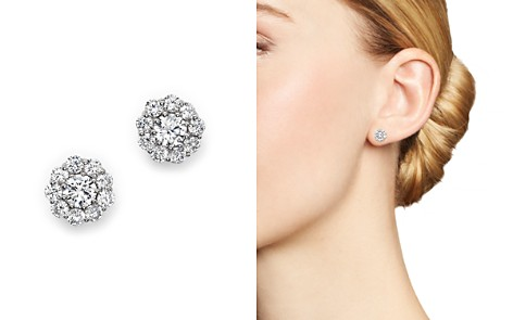 Certified Diamond Halo Stud Earrings in 14K White Gold, 1.0 ct. t.w. - Bloomingdale's_2
