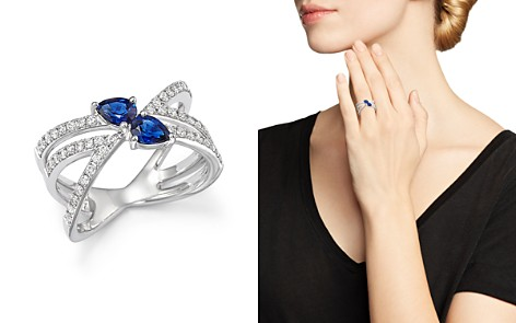 Sapphire and Diamond Two Stone X Ring in 14K White Gold - 100% Exclusive - Bloomingdale's_2