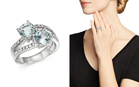 Aquamarine and Diamond Two Stone Ring in 14K White Gold - 100% Exclusive - Bloomingdale's_2