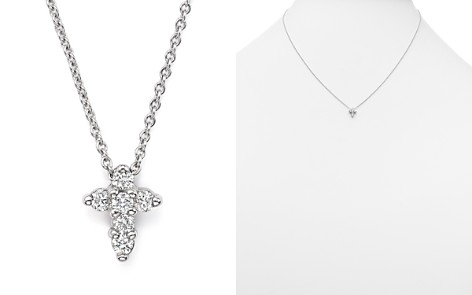 "Roberto Coin 18K White Gold Small Cross Pendant Necklace with Diamonds, 16"" - Bloomingdale's_2"