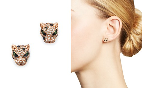 Diamond and Tsavorite Panther Studs in 14K Rose Gold - Bloomingdale's_2
