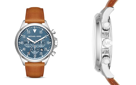 Michael Kors Gage Leather Strap Watch, 45mm - Bloomingdale's_2