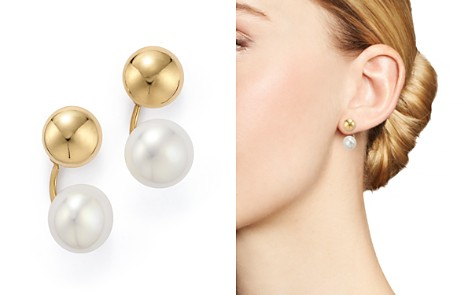 swarovski customize bridesmaid pearls earrings gift gold ivory