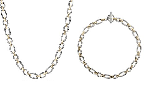 David Yurman Cushion Chain Link Necklace with Blue Sapphires and 18K Gold - Bloomingdale's_2