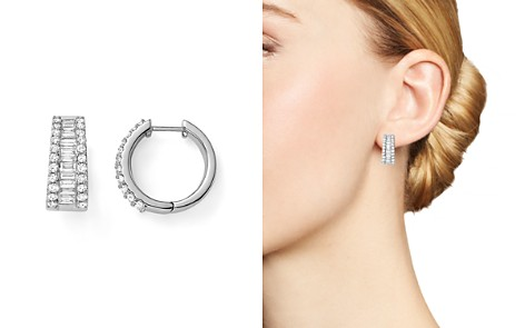 Baguette and Round Diamond Huggie Hoop Earrings in 14K White Gold, 2.0 ct. t.w. - 100% Exclusive - Bloomingdale's_2