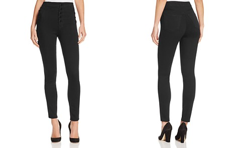 J Brand Natasha Sky High Skinny Jeans in Seriously Black - Bloomingdale's_2
