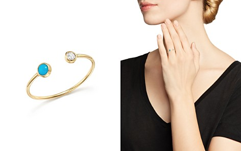 Zoë Chicco 14K Yellow Gold Open Ring with Bezel Set Turquoise and Diamond - Bloomingdale's_2