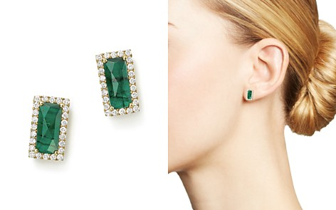 Meira T 14k Yellow Gold Emerald Rectangle Stud Earrings With Diamonds Bloomingdale S 2