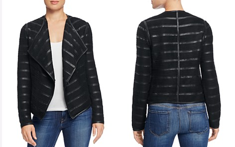 Bagatelle Faux Leather Trimmed Pleat Jacket - Bloomingdale's_2