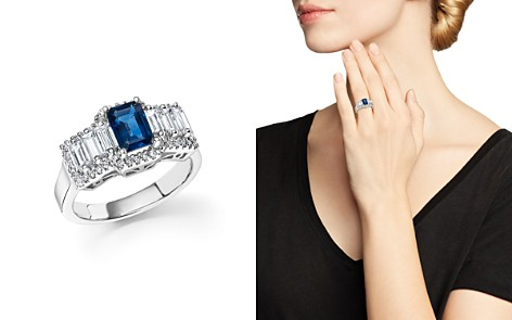 Sapphire and Diamond Baguette Ring in 14K White Gold - 100% Exclusive - Bloomingdale's_2