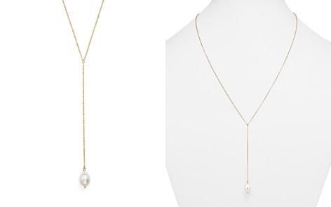 "Y Necklace with Cultured Freshwater Pearl Drop in 14K Yellow Gold, 26"" - Bloomingdale's_2"