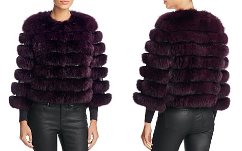 Maximilian Furs Leather Trim Saga Fox Fur Coat - Bloomingdale's_2