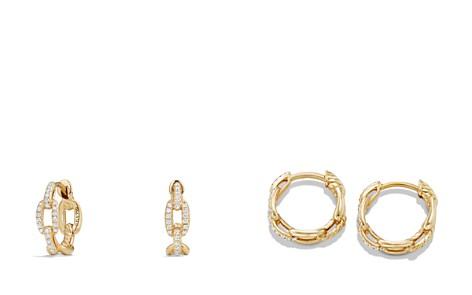 David Yurman Stax Chain Link Huggie Hoop Earrings with Diamonds in 18K Gold - Bloomingdale's_2