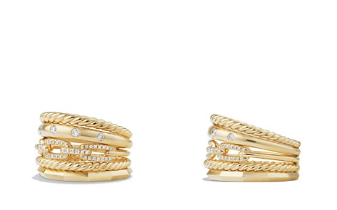David Yurman Stax Wide Ring with Diamonds in 18K Gold - Bloomingdale's_2