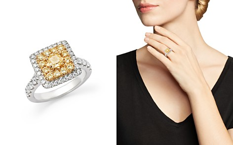 Yellow and White Diamond Ring in 18K White Gold - 100% Exclusive - Bloomingdale's_2