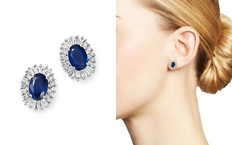 Blue Sapphire Oval and Diamond Stud Earrings in 14K White Gold - 100% Exclusive - Bloomingdale's_2