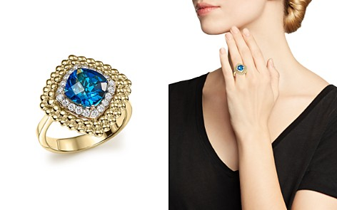 London Blue Topaz and Diamond Beaded Ring in 14K Yellow Gold - 100% Exclusive - Bloomingdale's_2