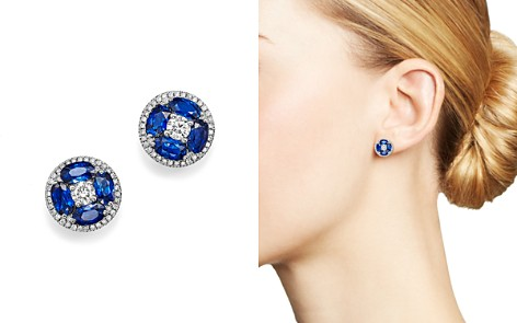 Sapphire and Diamond Stud Earrings in 14K White Gold - 100% Exclusive - Bloomingdale's_2