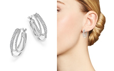 Diamond Triple Row Hoop Earrings in 14K White Gold, .25 ct. t.w. - Bloomingdale's_2