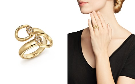 Gucci Horsebit Contraire Ring in 18K Yellow Gold with Brown Diamonds - Bloomingdale's_2