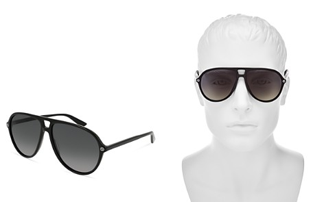 Gucci Polarized Oversize Aviator Sunglasses, 59mm - Bloomingdale's_2