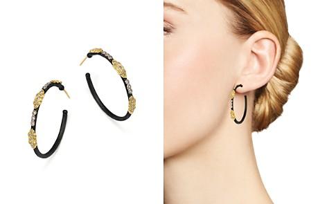 Armenta 18K Yellow Gold and Blackened Sterling Silver Old World Large Diamond Hoop Earrings - Bloomingdale's_2