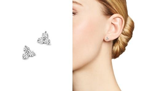 Diamond Three Stone Stud Earrings in 14K White Gold, .38 ct. t.w. - 100% Exclusive - Bloomingdale's_2