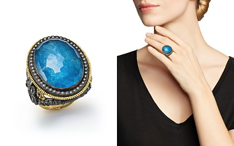 Armenta 18K Yellow Gold and Blackened Sterling Silver Labradorite Triplet, Diamond and White Sapphire Ring - 100% Exclusive - Bloomingdale's_2