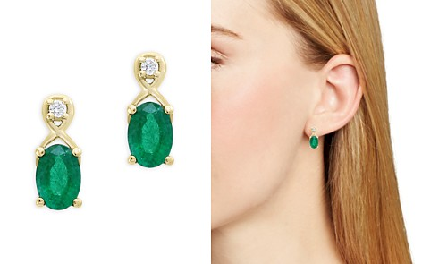 Emerald and Diamond Drop Earrings in 14K Yellow Gold - 100% Exclusive - Bloomingdale's_2