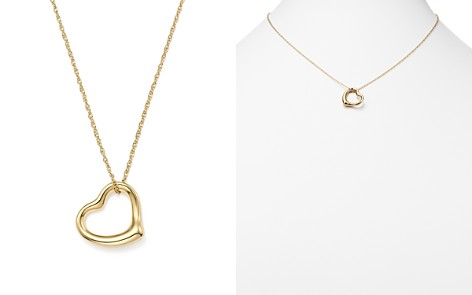 """14K Yellow Gold Open Heart Pendant Necklace, 18"""" - 100% Exclusive - Bloomingdale's_2"""