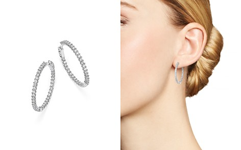 Diamond Inside Out Hoop Earrings in 14K White Gold, 1.50 ct. t.w. - 100% Exclusive - Bloomingdale's_2