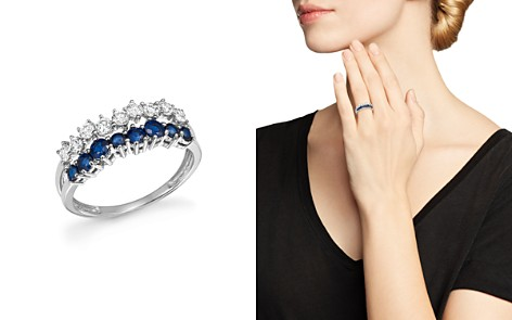 Diamond and Blue Sapphire Band Ring in 14K White Gold - 100% Exclusive - Bloomingdale's_2