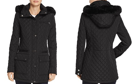 Calvin Klein Faux Fur Trim Quilted Coat - Bloomingdale's_2