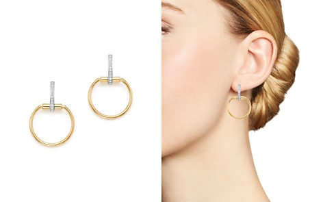 Roberto Coin 18K Yellow & White Gold Classic Parisienne Diamond Small Round Earrings - Bloomingdale's_2