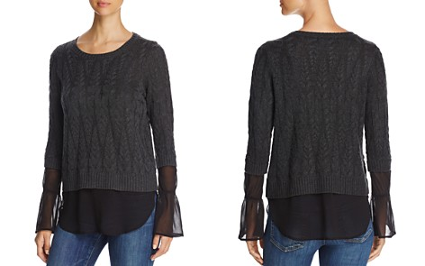 Design History Cable-Knit Faux Underlay Sweater - Bloomingdale's_2