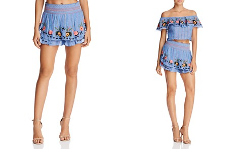 Red Carter Barra Embroidered Shorts - Bloomingdale's_2