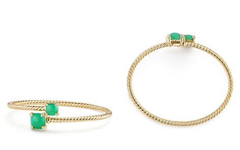 David Yurman Châtelaine Bypass Bracelet with Chrysoprase & Diamonds in 18K Yellow Gold - Bloomingdale's_2