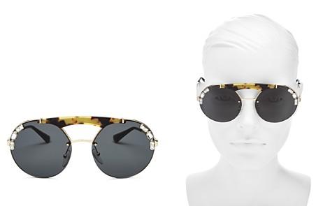 Prada Brow Bar Round Embellished Sunglasses, 37mm - Bloomingdale's_2